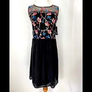 AGB Chic Embroidered Sleeveless Dress